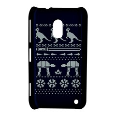 Holiday Party Attire Ugly Christmas Blue Background Nokia Lumia 620 by Onesevenart