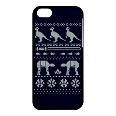 Holiday Party Attire Ugly Christmas Blue Background Apple Iphone 5c Hardshell Case by Onesevenart