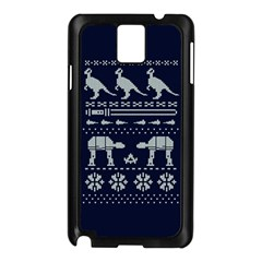 Holiday Party Attire Ugly Christmas Blue Background Samsung Galaxy Note 3 N9005 Case (black) by Onesevenart