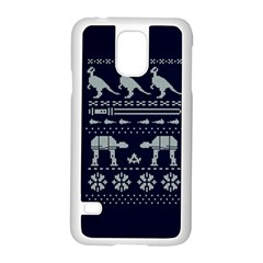 Holiday Party Attire Ugly Christmas Blue Background Samsung Galaxy S5 Case (white) by Onesevenart