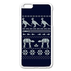 Holiday Party Attire Ugly Christmas Blue Background Apple Iphone 6 Plus/6s Plus Enamel White Case by Onesevenart