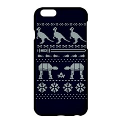 Holiday Party Attire Ugly Christmas Blue Background Apple Iphone 6 Plus/6s Plus Hardshell Case by Onesevenart