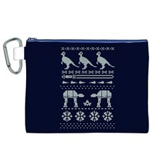 Holiday Party Attire Ugly Christmas Blue Background Canvas Cosmetic Bag (xl) by Onesevenart