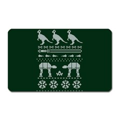 Holiday Party Attire Ugly Christmas Green Background Magnet (rectangular) by Onesevenart