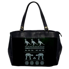 Holiday Party Attire Ugly Christmas Green Background Office Handbags by Onesevenart