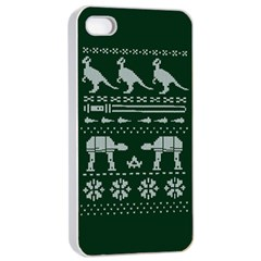 Holiday Party Attire Ugly Christmas Green Background Apple Iphone 4/4s Seamless Case (white) by Onesevenart