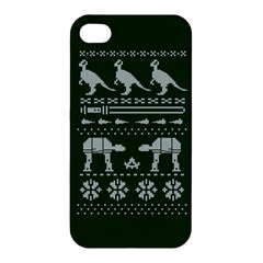 Holiday Party Attire Ugly Christmas Green Background Apple Iphone 4/4s Hardshell Case by Onesevenart