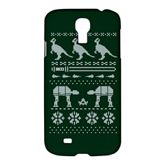 Holiday Party Attire Ugly Christmas Green Background Samsung Galaxy S4 I9500/i9505 Hardshell Case by Onesevenart