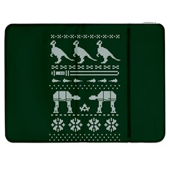 Holiday Party Attire Ugly Christmas Green Background Samsung Galaxy Tab 7  P1000 Flip Case by Onesevenart