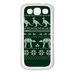 Holiday Party Attire Ugly Christmas Green Background Samsung Galaxy S3 Back Case (white) by Onesevenart