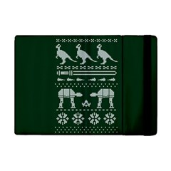 Holiday Party Attire Ugly Christmas Green Background Ipad Mini 2 Flip Cases by Onesevenart