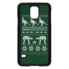 Holiday Party Attire Ugly Christmas Green Background Samsung Galaxy S5 Case (black) by Onesevenart