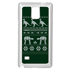 Holiday Party Attire Ugly Christmas Green Background Samsung Galaxy Note 4 Case (white) by Onesevenart