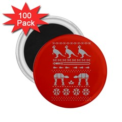 Holiday Party Attire Ugly Christmas Red Background 2 25  Magnets (100 Pack)  by Onesevenart