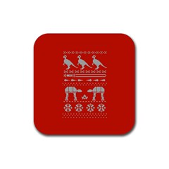 Holiday Party Attire Ugly Christmas Red Background Rubber Coaster (square)  by Onesevenart
