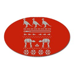 Holiday Party Attire Ugly Christmas Red Background Oval Magnet by Onesevenart