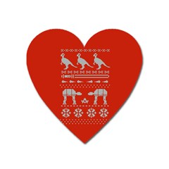 Holiday Party Attire Ugly Christmas Red Background Heart Magnet by Onesevenart