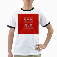 Holiday Party Attire Ugly Christmas Red Background Ringer T Shirts by Onesevenart