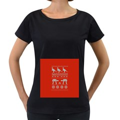 Holiday Party Attire Ugly Christmas Red Background Women s Loose Fit T Shirt (black) by Onesevenart