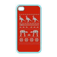 Holiday Party Attire Ugly Christmas Red Background Apple Iphone 4 Case (color) by Onesevenart