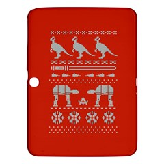 Holiday Party Attire Ugly Christmas Red Background Samsung Galaxy Tab 3 (10 1 ) P5200 Hardshell Case  by Onesevenart