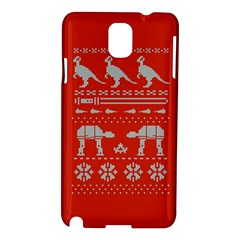 Holiday Party Attire Ugly Christmas Red Background Samsung Galaxy Note 3 N9005 Hardshell Case by Onesevenart