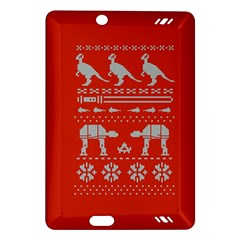 Holiday Party Attire Ugly Christmas Red Background Amazon Kindle Fire Hd (2013) Hardshell Case by Onesevenart