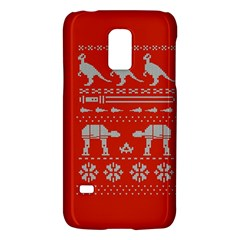 Holiday Party Attire Ugly Christmas Red Background Galaxy S5 Mini by Onesevenart