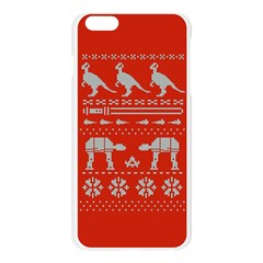 Holiday Party Attire Ugly Christmas Red Background Apple Seamless iPhone 6 Plus/6S Plus Case (Transparent) by Onesevenart