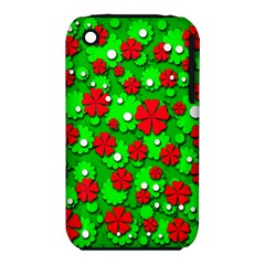 Xmas Flowers Apple Iphone 3g/3gs Hardshell Case (pc+silicone) by Valentinaart