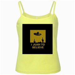 I Juan To Believe Ugly Holiday Christmas Black Background Yellow Spaghetti Tank by Onesevenart