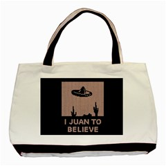 I Juan To Believe Ugly Holiday Christmas Black Background Basic Tote Bag by Onesevenart