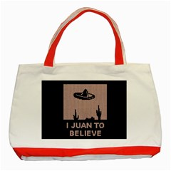 I Juan To Believe Ugly Holiday Christmas Black Background Classic Tote Bag (red) by Onesevenart