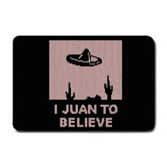 I Juan To Believe Ugly Holiday Christmas Black Background Small Doormat  by Onesevenart