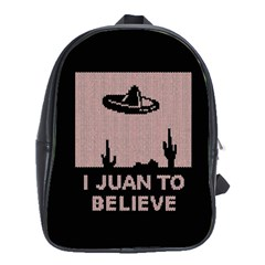 I Juan To Believe Ugly Holiday Christmas Black Background School Bags(large)  by Onesevenart
