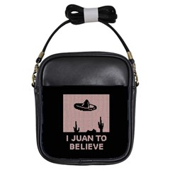I Juan To Believe Ugly Holiday Christmas Black Background Girls Sling Bags by Onesevenart