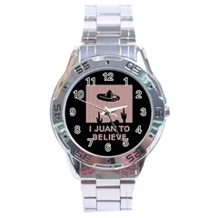 I Juan To Believe Ugly Holiday Christmas Black Background Stainless Steel Analogue Watch by Onesevenart