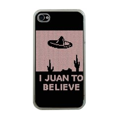 I Juan To Believe Ugly Holiday Christmas Black Background Apple Iphone 4 Case (clear) by Onesevenart