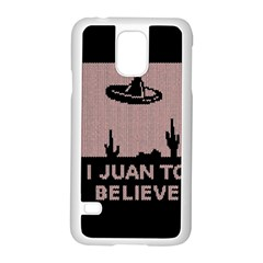 I Juan To Believe Ugly Holiday Christmas Black Background Samsung Galaxy S5 Case (white) by Onesevenart