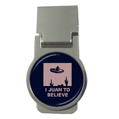 I Juan To Believe Ugly Holiday Christmas Blue Background Money Clips (round)  by Onesevenart