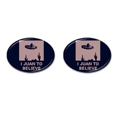 I Juan To Believe Ugly Holiday Christmas Blue Background Cufflinks (Oval) by Onesevenart