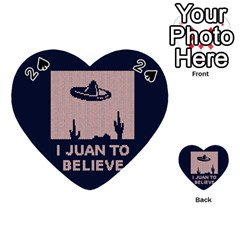I Juan To Believe Ugly Holiday Christmas Blue Background Playing Cards 54 (heart)  by Onesevenart
