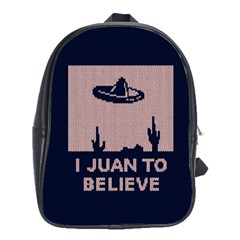 I Juan To Believe Ugly Holiday Christmas Blue Background School Bags(large)  by Onesevenart