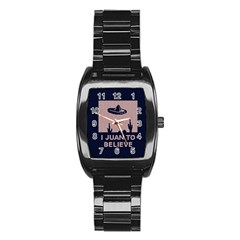 I Juan To Believe Ugly Holiday Christmas Blue Background Stainless Steel Barrel Watch by Onesevenart