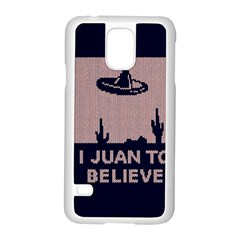 I Juan To Believe Ugly Holiday Christmas Blue Background Samsung Galaxy S5 Case (white) by Onesevenart