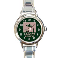 I Juan To Believe Ugly Holiday Christmas Green Background Round Italian Charm Watch by Onesevenart