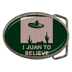 I Juan To Believe Ugly Holiday Christmas Green Background Belt Buckles by Onesevenart