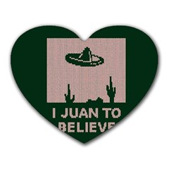 I Juan To Believe Ugly Holiday Christmas Green Background Heart Mousepads by Onesevenart