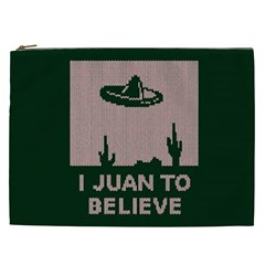 I Juan To Believe Ugly Holiday Christmas Green Background Cosmetic Bag (xxl)  by Onesevenart