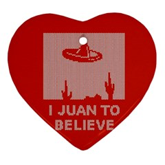 I Juan To Believe Ugly Holiday Christmas Red Background Heart Ornament (2 Sides) by Onesevenart